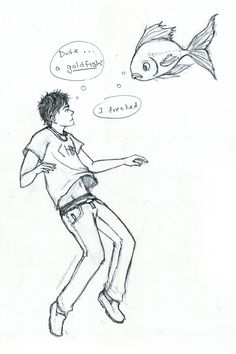murphytinker: day 9: Percy and Frank i thought this scene was hilarious :D frank as a huge goldfish