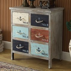 Nautical 6 Drawer Chest with Rope Pulls: Coast To Coast - Distressed Bayview Grey Accent Chest with Nautical-Themed Details - 46293 For a boy's room or den. Love the rope pulls! Refurbished Furniture, Paint Furniture, Repurposed Furniture, Furniture Projects, Furniture Making, Furniture Makeover, Home Furniture, Vintage Furniture, Diy Furniture Restoration