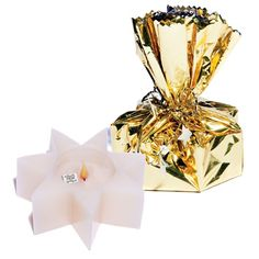 Wrapped Treasure Star Candle - Gold Wrap-Prom Favors
