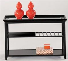 Sandpiper Contemporary Black Sofa/Console Table