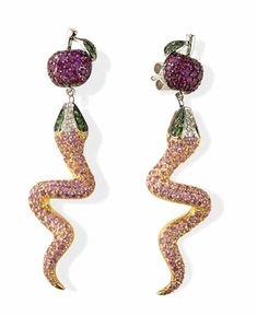 Multi Color Gemstone Snake Earrings in Solid 18k Gold with Apple