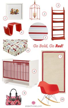 Go Bold, Go Red! Love the book rack, put three next to eachother?  #projectnursery #franklinandben #nursery