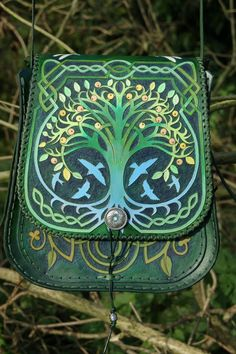 Elaborately carved Bardsey bag featuring Tree Of Life and Celtic knotwork designs
