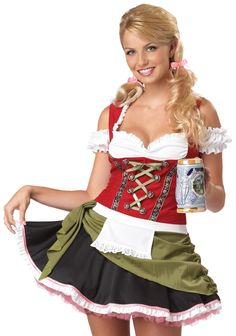 California Costumes Bavarian Bar Maid Set, Red/Olive, X-Large Hansel And Gretel Costumes, Bar Maid Costume, Octoberfest Girls, Oktoberfest Costume, Oktoberfest Halloween, California Costumes, Beer Girl, Sexy Costumes For Women, Cool Halloween Costumes