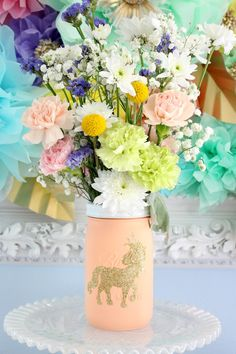Floral bouquet from a Pastel Iridescent Unicorn 2nd Bday Party at Kara's Party…