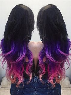 Black to Purple Pink Colorful Ombre Indian Remy Clip In Hair Extensions C041 [C041] - VPfashion.com