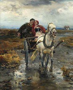 107 Color Paintings of Alfred Wierusz-Kowalski. Born 1849 in Suwalki town. Died 1915 in Monachium .