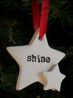 Be Sweetly Inspired: DIY Christmas Ornaments with Polymer Clay. Love the little star hanging off the side