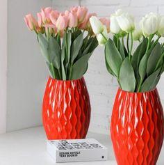 Adeco Decorative Wood Vase- Red