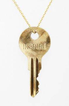 "The Giving Keys 'Dainty - Inspire' 36"" Brass Pendant Necklace available at #Nordstrom"