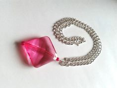 Pink Diamond Shape Pendant Chunky Curb Chain Necklace by TwinklePlanet https://www.etsy.com/uk/listing/177871943/pink-diamond-shape-pendant-chunky-curb?ref=shop_home_active_1 10% off with code VALENTINE10