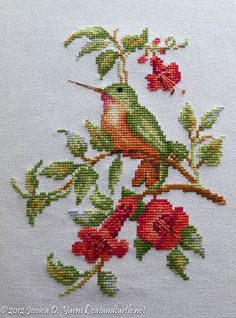 Hummingbird on Trumpet Vine. Cross-stitch of one of my favorite birds. Hummingbird on Trumpet Vine. Cross-stitch of one of my. Cross Stitch Needles, Cross Stitch Bird, Cross Stitch Animals, Cross Stitch Flowers, Cross Stitch Charts, Cross Stitch Designs, Cross Stitching, Cross Stitch Patterns, Ribbon Embroidery