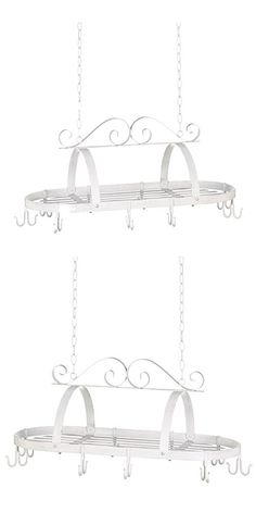Zingz & Thingz Hanging Contemporary Oval Pot Rack, White