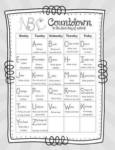 14 Alphabet Countdown Calendars - free printable ABC countdown to summer - KindergartenWorks