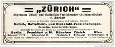 Original-Werbung/ Anzeige 1911 - ZÜRICH VERSICHERUNG - ca. 110 x 45 mm