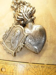 Reserved for MR p  Sacred Heart Necklace French Icon sterling deco chains Ex Voto Perfume Holy water holder