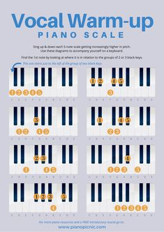 Warm-up your vocal cords at the piano with these easy exercises. Singing & playing helps to build your musical ear, learn more about strengthening your musical ear over at our FREE ear bootcamp! 5 Days To A Better Musical Ear! Vocal Lessons, Singing Lessons, Singing Tips, Music Lessons, Vocal Warm Up Exercises, Singing Exercises, Vocal Warmups, Singing Techniques, Vocal Training