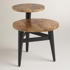 Wood and Metal Multi Level Accent Table
