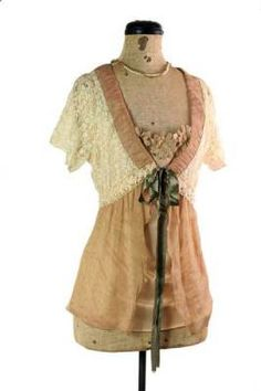 actual vintage top...Cream Tea Blouse - A delicate lace bodice is blessed with ruched neck and opalescent ribbon, pearls and loden ribbon. A trio of vintage-style daisies peek demurely from the attached cami.