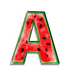 Alfabeto simulando sandía. | Oh my Alfabetos!
