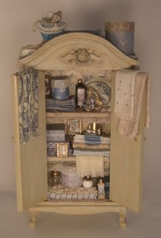 Decorated Armoire by Serna Sheridan - $245.00 : Swan House Miniatures, Artisan Miniatures for Dollhouses and Roomboxes