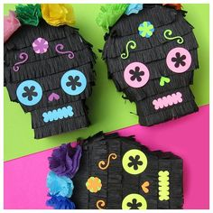 Day of the Dead sugar skull mini pinata favors. Perfect for fiesta decorations and that flower crown is perfect!