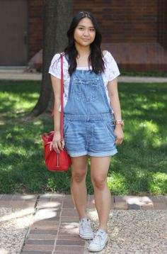 American Eagle overalls, shortalls, Gilly Hicks lace crop top, white Converse, Fossil Sydney Satchel | The Anna Mikaela Blog