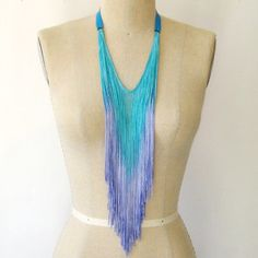 Fringe Necklace Aqua Lavender now featured on Fab.