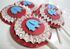 Circus Elephant Cupcake Toppers Elephant by BeautifulPaperCrafts, $14.00