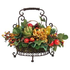 Bring rustic style to your tablescape or mantel with this lovely arrangement, brimming with faux artichokes and fruit nestled among lush greenery.