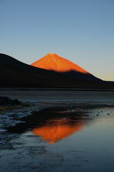 Sunset over Volcan Licancabur, Bolivia