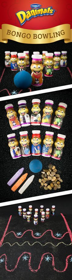 Create your own bowling alley outside with this Danimals® Adventure Series-inspired kid activity. Arrange empty, clean Danimals® Smoothie bottles as you would bowling pins, adding small stones to the inside to help weigh them down. Use sidewalk chalk to create a bowing lane. Have the kids get creative and decorate the lane with fun designs. Then, let them roll a ball down the alley and see how many Bongos they can knock down!