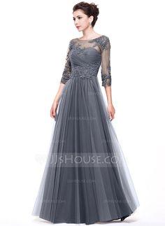 Corte A/Princesa Escote redondo Hasta el suelo Tul Vestido de noche con Volantes Bordado Los appliques Encaje Lentejuelas (017065555)