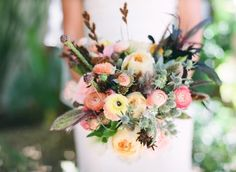 rustic bouquet in soft & deep colors.