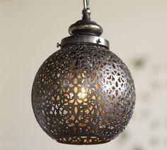 Over the sink Moroccan pendant with #BeveledBacksplash