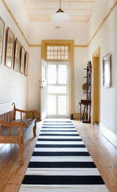 Modern Black Striped hallway runner. Armadillo.