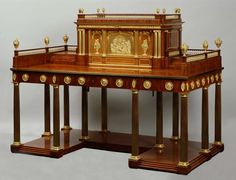 """A highly important ormolu and brass mounted mahognay """"bureau à gradin""""  David Roentgen (1743-1807) Neuwied, circa 1786 Probably for Catherine the Great"""