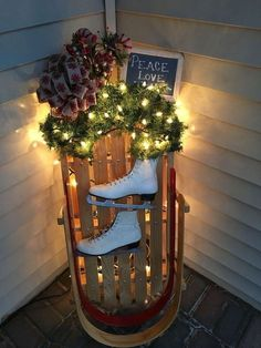 Christmas DIY Decorations Easy and Cheap – Snowmen Candle Holders Christmas sled with LED lights for front porch decorating Christmas DIY Decorations Easy and Cheap – Snowmen Candle Holders Christmas sled with LED lights for front porch decorating Porch Christmas Lights, Christmas Garden Decorations, Decorating With Christmas Lights, Diy Christmas Tree, Rustic Christmas, Porch Decorating, Cheap Christmas, Porch Ideas For Christmas, Outdoor Xmas Decorations