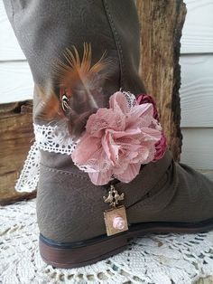 Boot Bracelet Boot Band Lace Bird Flower Boot by BootsandBobbles, $24.99