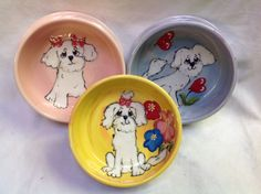 Hand painted Dog Bowls / Matching Set / Whimsical Bichon / Whimsical Maltese / Custom Dog Pottery / Debby Carman / Faux Paw Productions by FauxPawProductions on Etsy