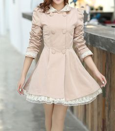Wholesale Lace Splicing Refreshing Style Long Sleeves Double-Layered Collar Polyester Trench Coat For Women (BEIGE,M), Jackets & Coats - Rosewholesale.com