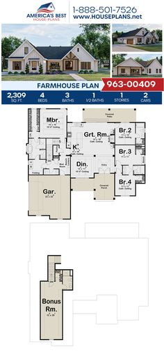 An exceptional 2,309 sq. ft. Farmhouse, Plan 963-00409 offers 4 bedrooms, 3.5 bathrooms, split bedrooms, a kitchen island, an open floor plan, a bonus room, a media room, a mudroom, and a theater room. #farmhouse #openfloorplan #architecture #houseplans #housedesign #homedesign #homedesigns #architecturalplans #newconstruction #floorplans #dreamhome #dreamhouseplans #abhouseplans #besthouseplans #newhome #newhouse #homesweethome #buildingahome #buildahome #residentialplans #residentialhome Open Floor House Plans, Porch House Plans, Farmhouse Floor Plans, Barn House Plans, House Plans One Story, Dream House Plans, Dream Houses, Four Bedroom House Plans, Open Concept Floor Plans