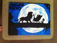 Disney's The Lion King Inspired 9x12 Canvas Painting Hakuna Matata Simba Timon and Pumbaa