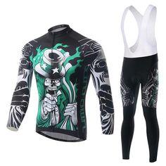 Men's Black Skeleton Long Sleeve Cycling Jersey Set #Cycling #CyclingGear #CyclingJersey #CyclingJerseySet