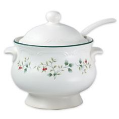 Serve your favorite soup, whether it's oxtail, minestrone or a lighter chicken consomme, from this covered tureen and ladle.