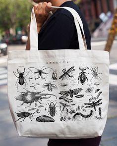 Vintage Insects Tote Bag  Organic Canvas  por CognitiveSurplus
