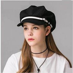 Casual newsboy cap for women black UV protection hat