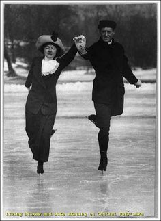 Olympic Figure Skater Irving Brokaw and wife ice skating on Central Park Lake, 1913