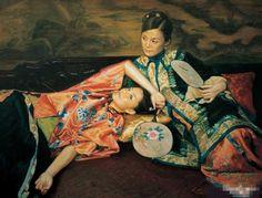 陈逸鸣油画作品:仕女系列-2 -  双美图 2010年作 作品尺寸:100*130cm