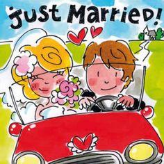 Blond Amsterdam Card Just Married BL186 - https://www.simplydutch.com/kiosk/wedding-cards/blond-amsterdam/4789/card-just-married-bl186/